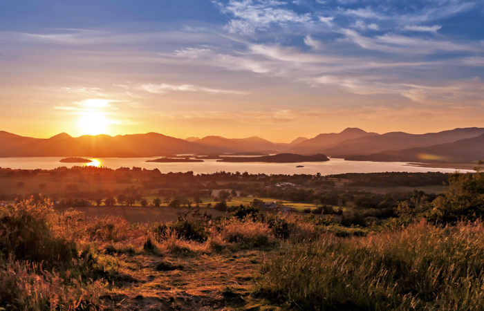 Scottish Loch and Mountains at Sunset