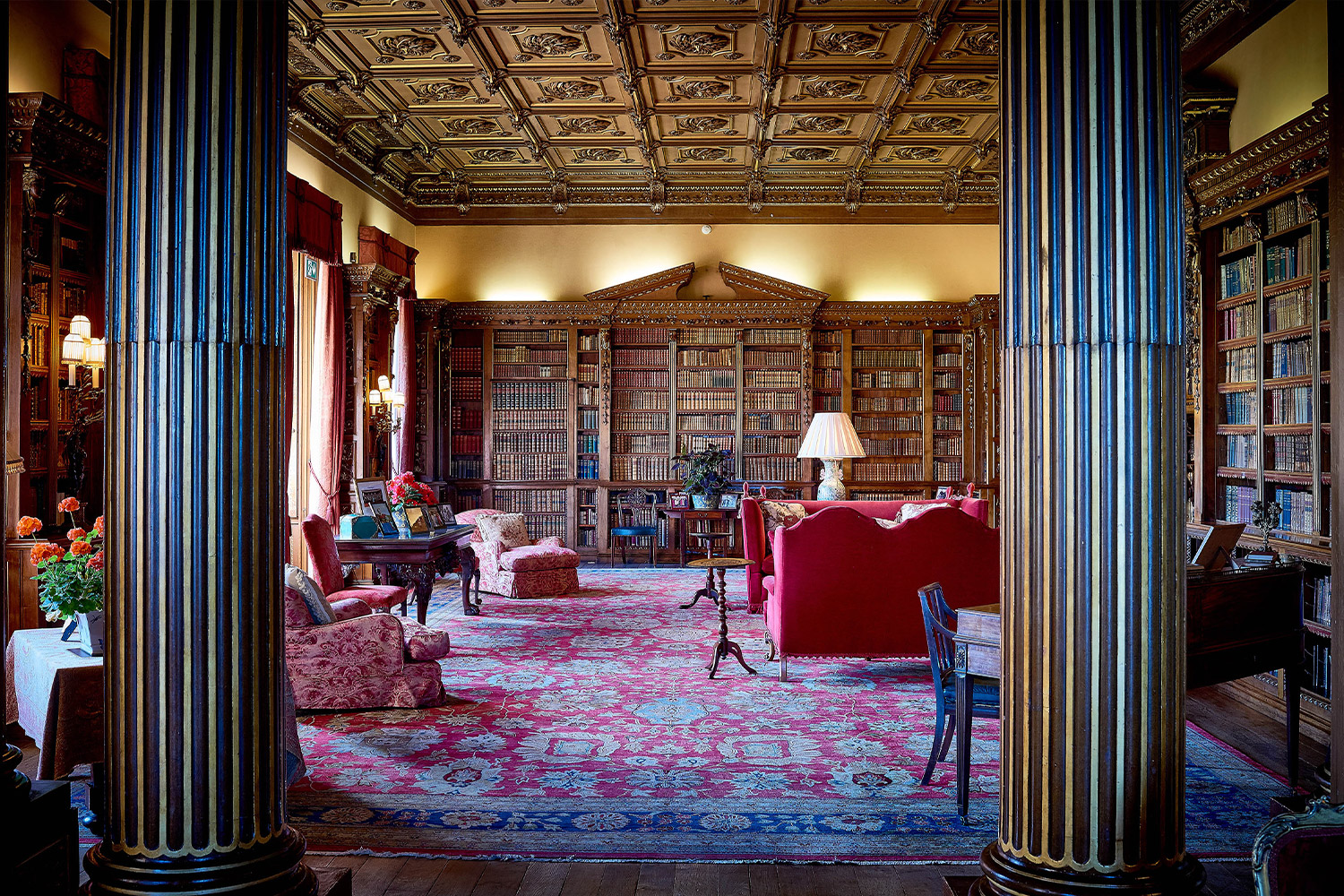 Library At Highclere Castle also known as Downton Abbey