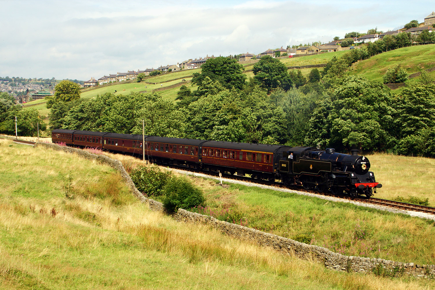 Steam Train travelling on the Keighley and Worth Railway